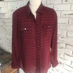 WHBM Patterned Button Down Blouse